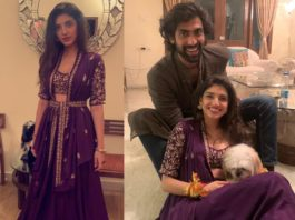 rana and miheeka after marriage, miheeka in purple lehenga