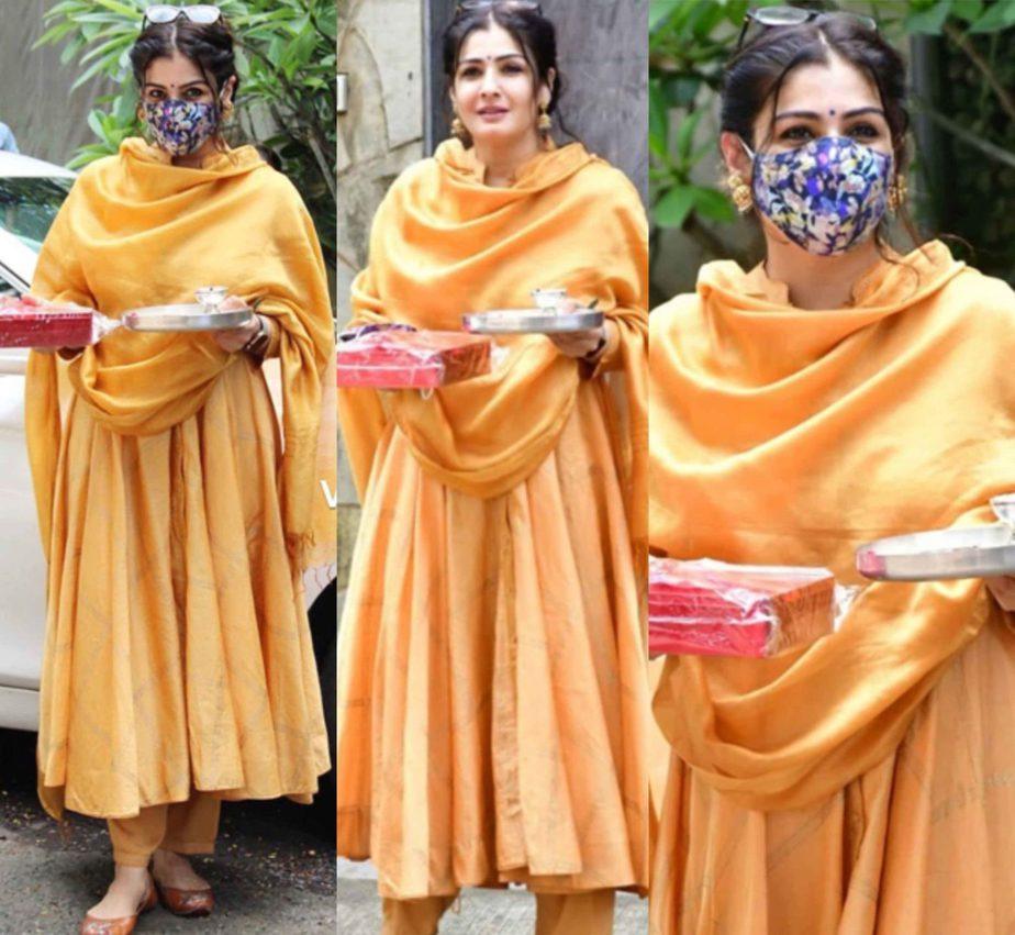 raveena tandon yellow kurta set rakshi (1)