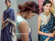 samantha akkineni blue saree at rana daggubati wedding (2)