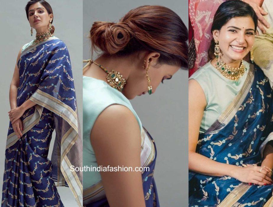 samantha akkineni blue saree at rana daggubati wedding (2)