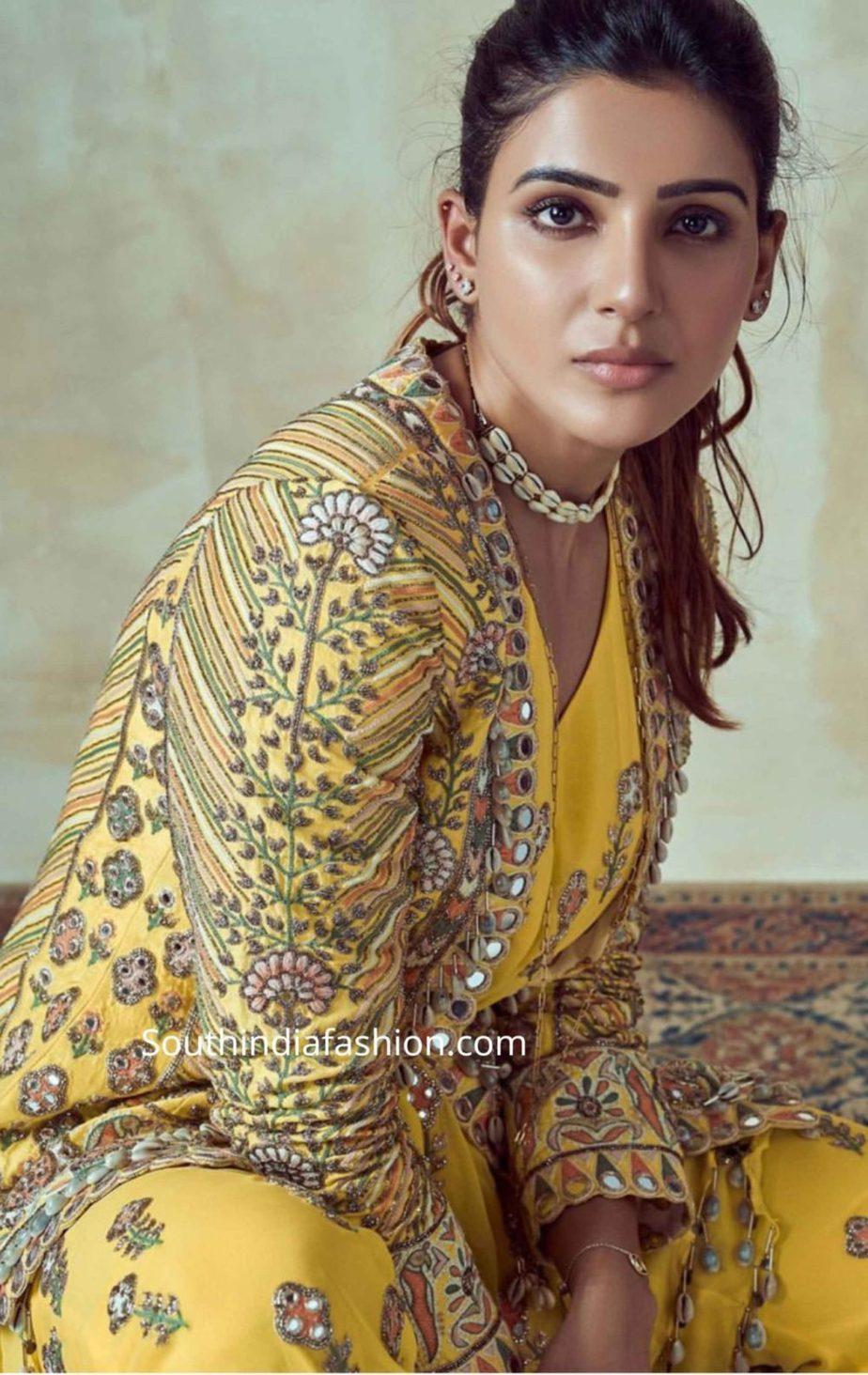 samantha akkineni yellow dress at rana haldi function (2)