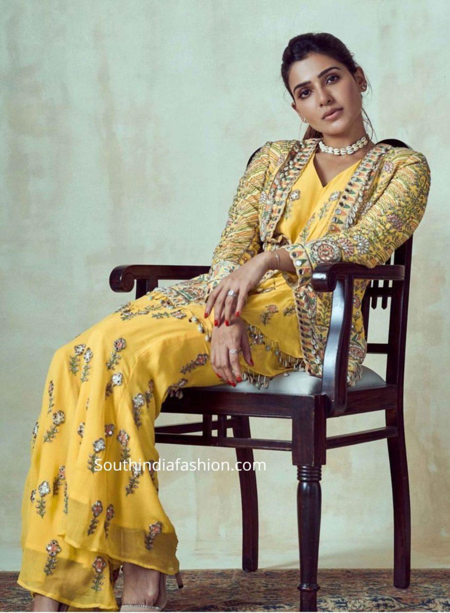 samantha akkineni yellow dress at rana haldi function