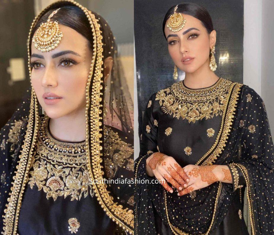 sana khan black sharara suit eid (1)