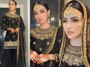 sana khan black sharara suit eid (2)