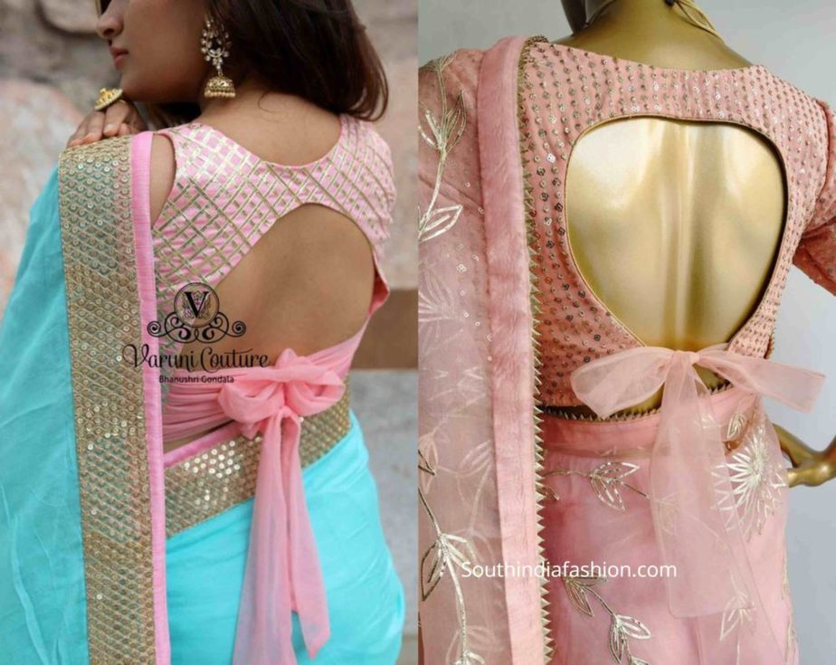 saree blouse with bow back (2)