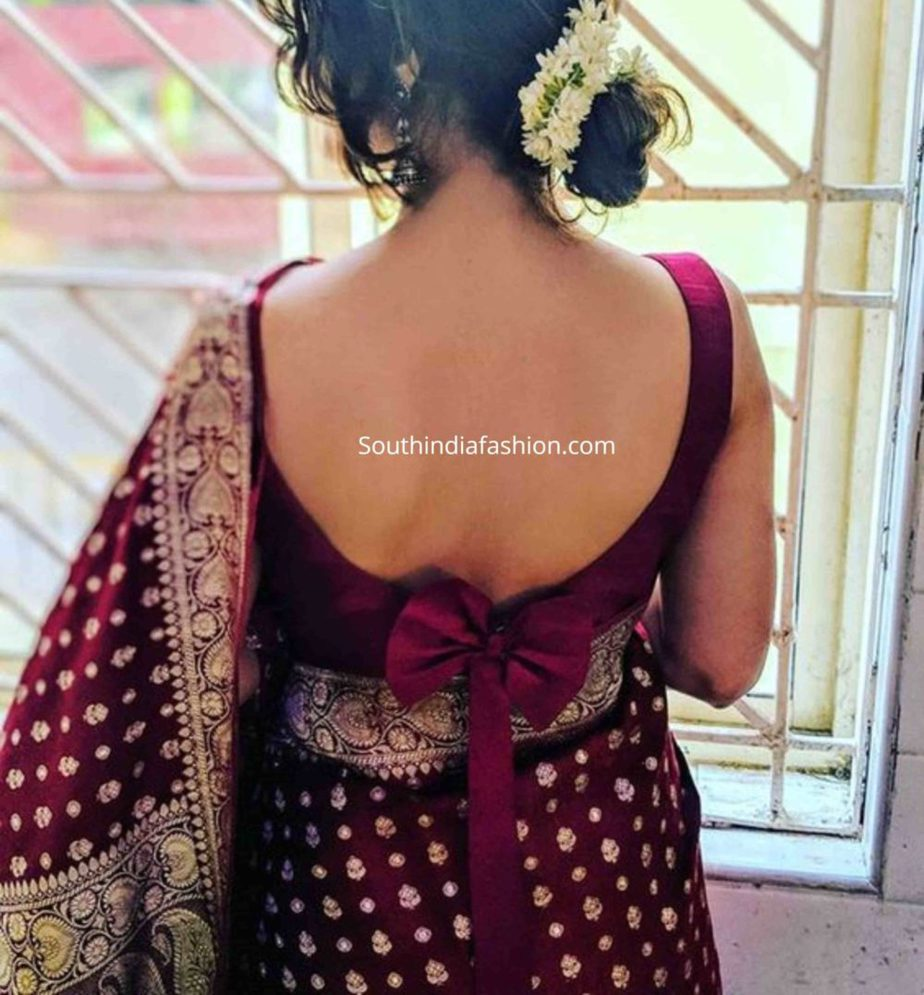 saree blouse with bow back
