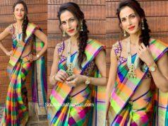 shilpa reddy checkered saree