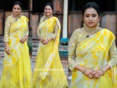 suma kanakala in yellow half saree