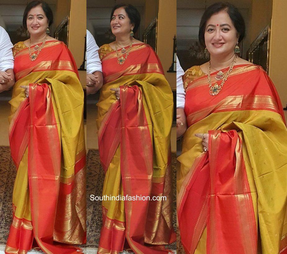 sumalatha yellow kanjeevaram saree ganesh chaturthi