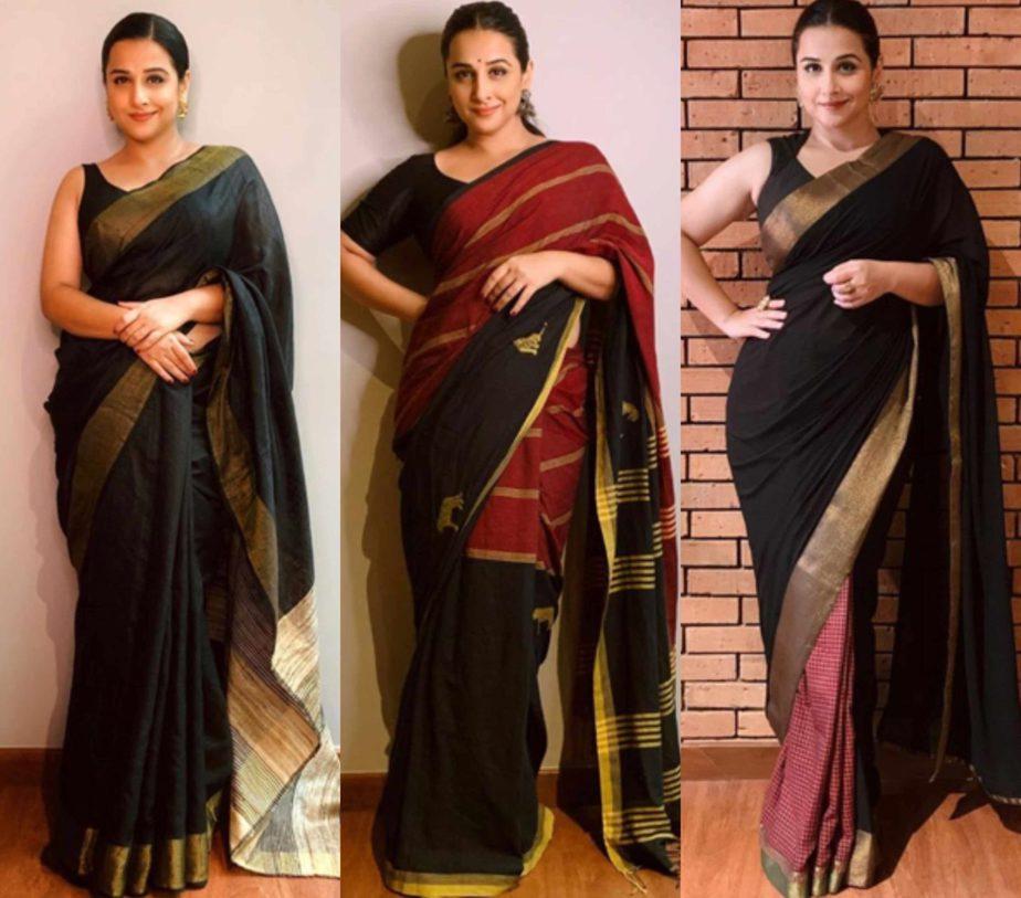 vidya balan black sarees shakuntala devi promotions (5)