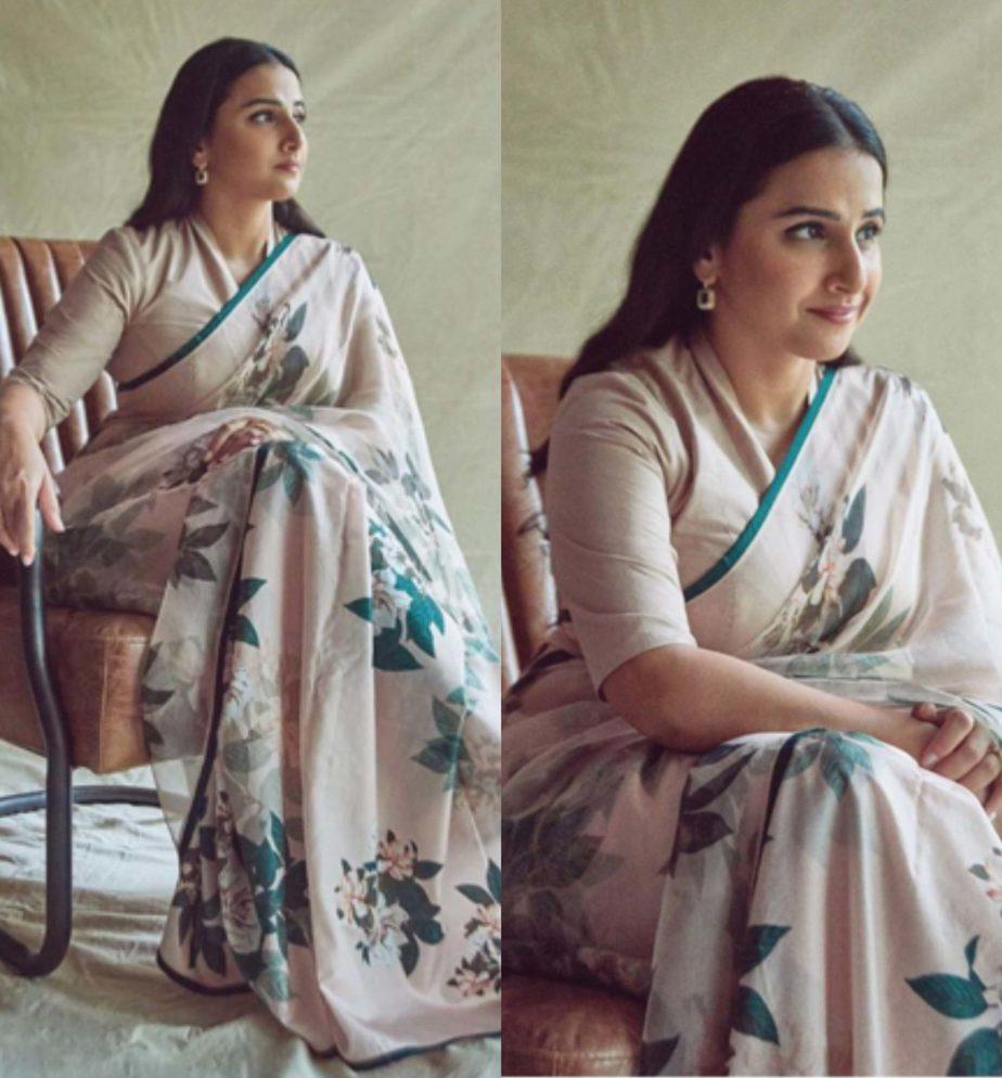 vidya balan floral printed saree
