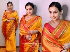 vidya balan ganesh chaturthi yellow silk saree