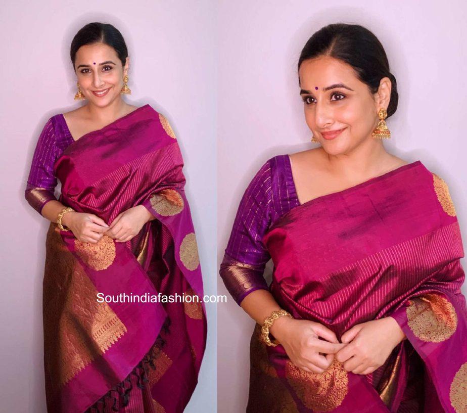 vidya balan pink silk saree independence day (2)