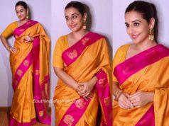 vidya balan yellow and pink silk saree