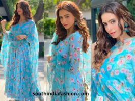 Aamna Sharif in blue anarkali