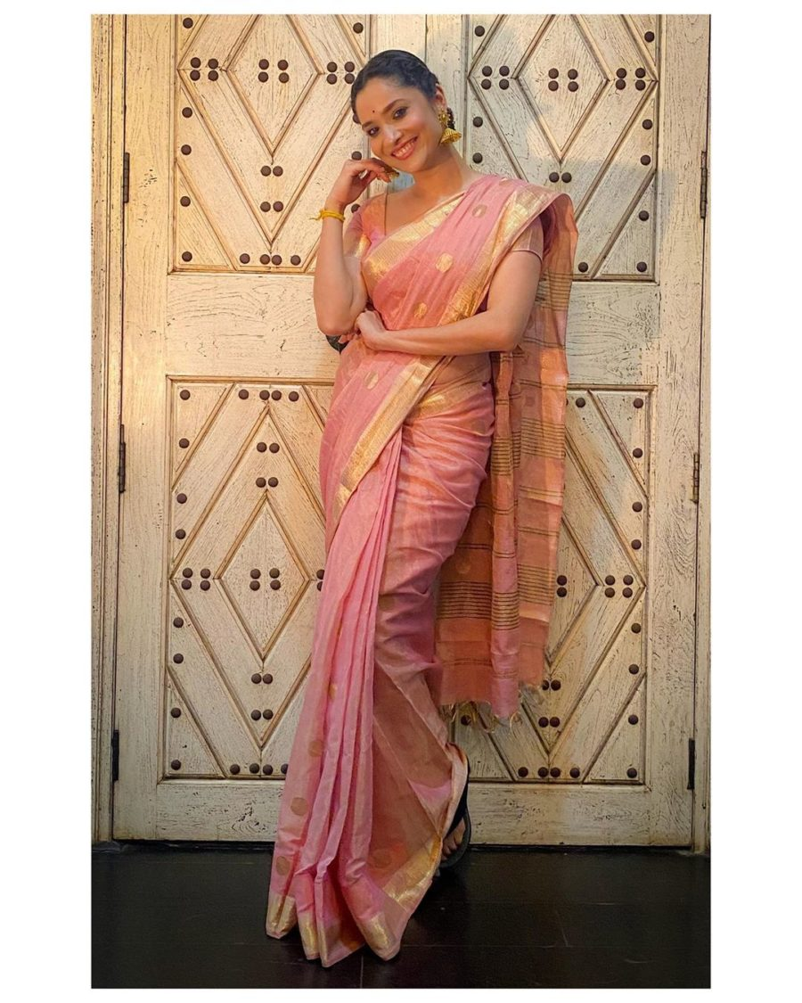 Ankita Lokahnde in pink saree