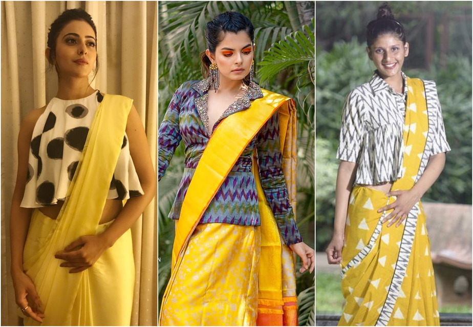 Pair Your Vibrant Yellow Saree With Contrast Blouses To Brighten Up Your Look