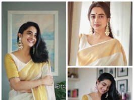 Namitha in linen saree