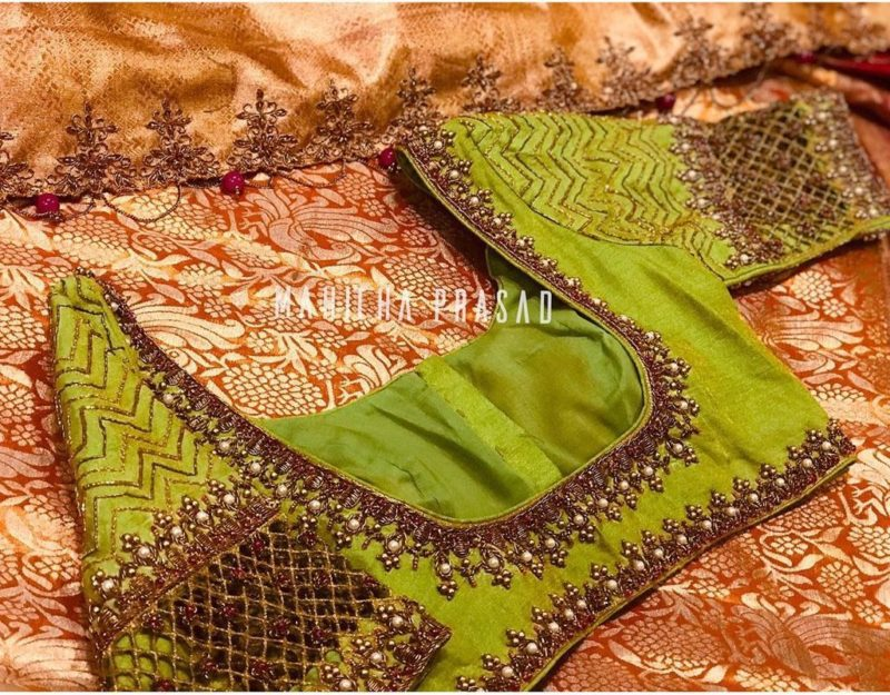 parrot green maggam blouse