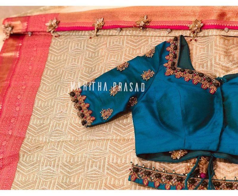 teal blue designer blouse