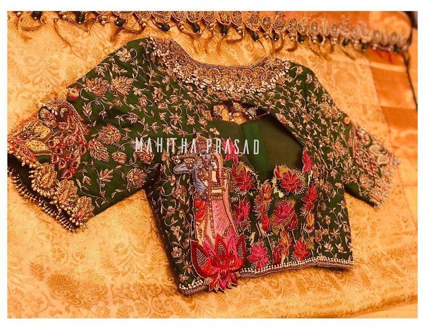 radha krishna maggam work blouse