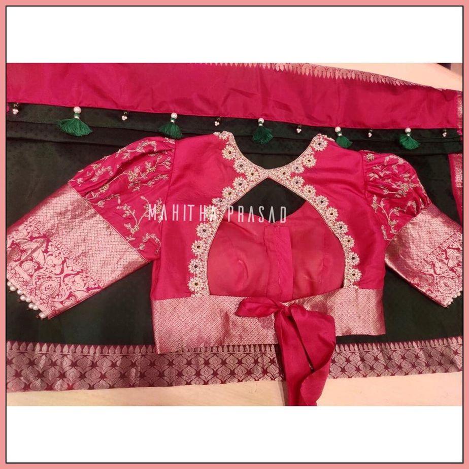 puff sleeves pattu saree blouse