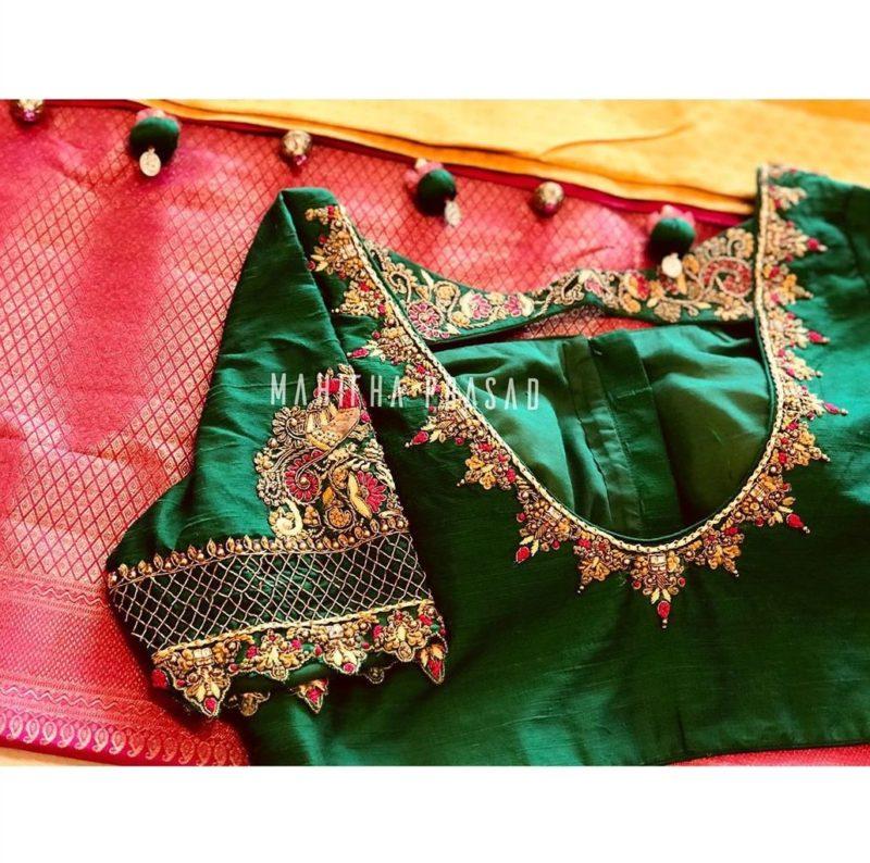 green pattu saree blouse