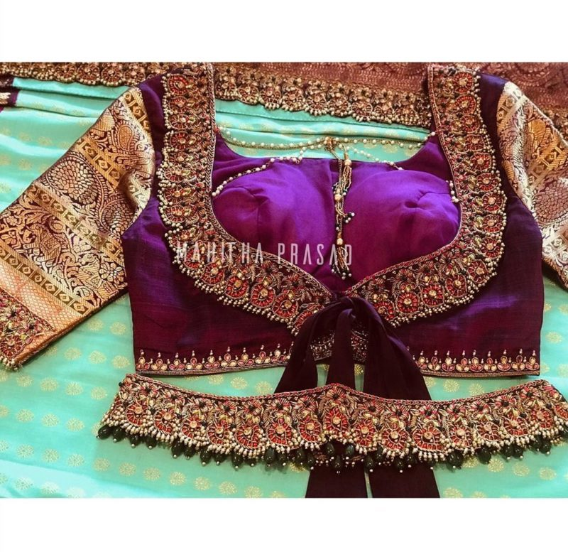 maggam work blouse with matching belt