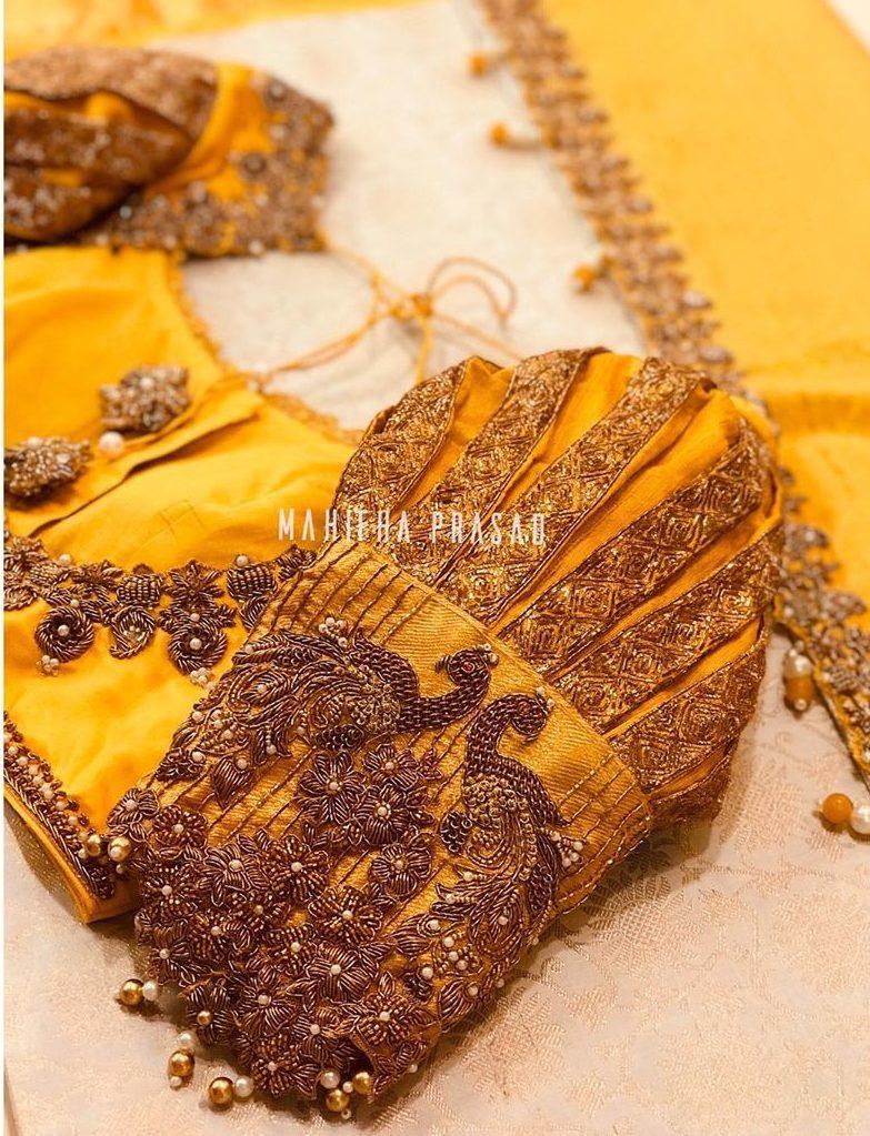 yellow puff sleeves silk saree blouse