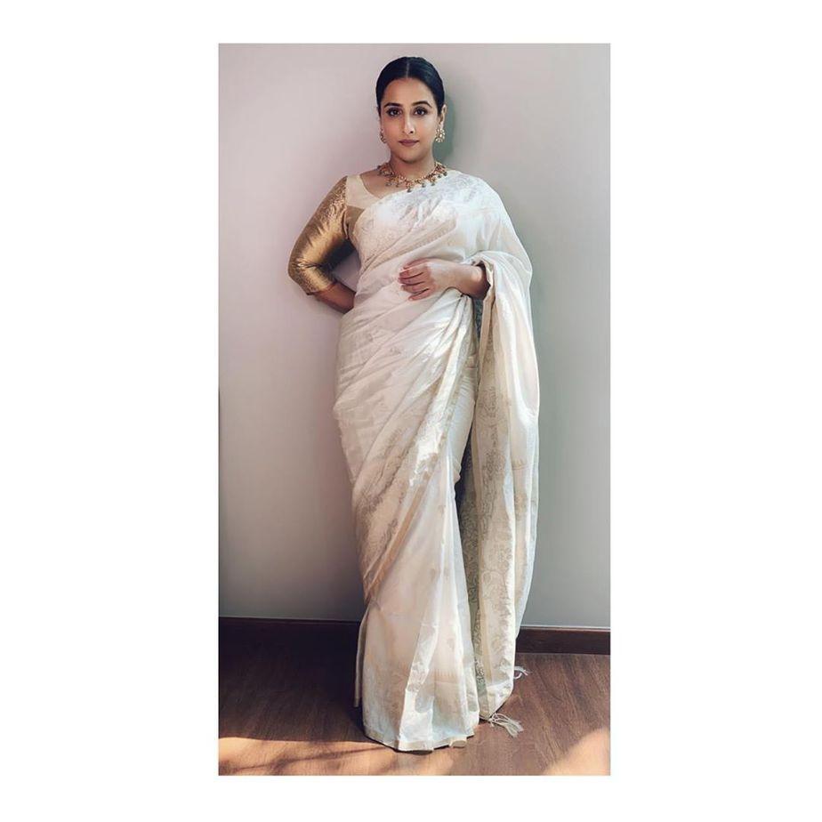 Vidya in white saree