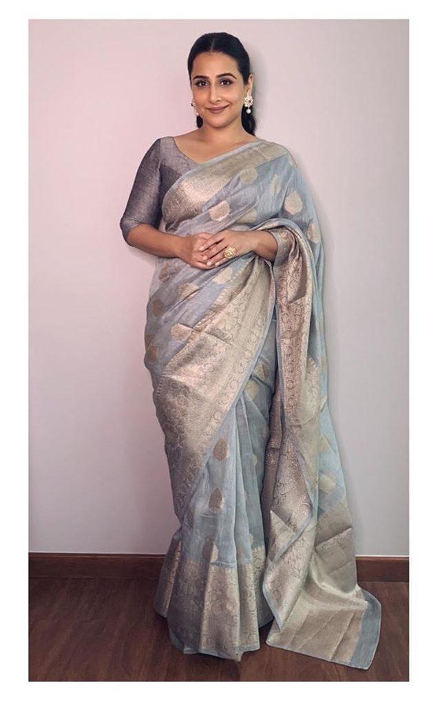 Vidya Balan in chanderi silk