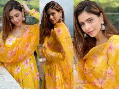 aamna sharif yellow floral anarkali