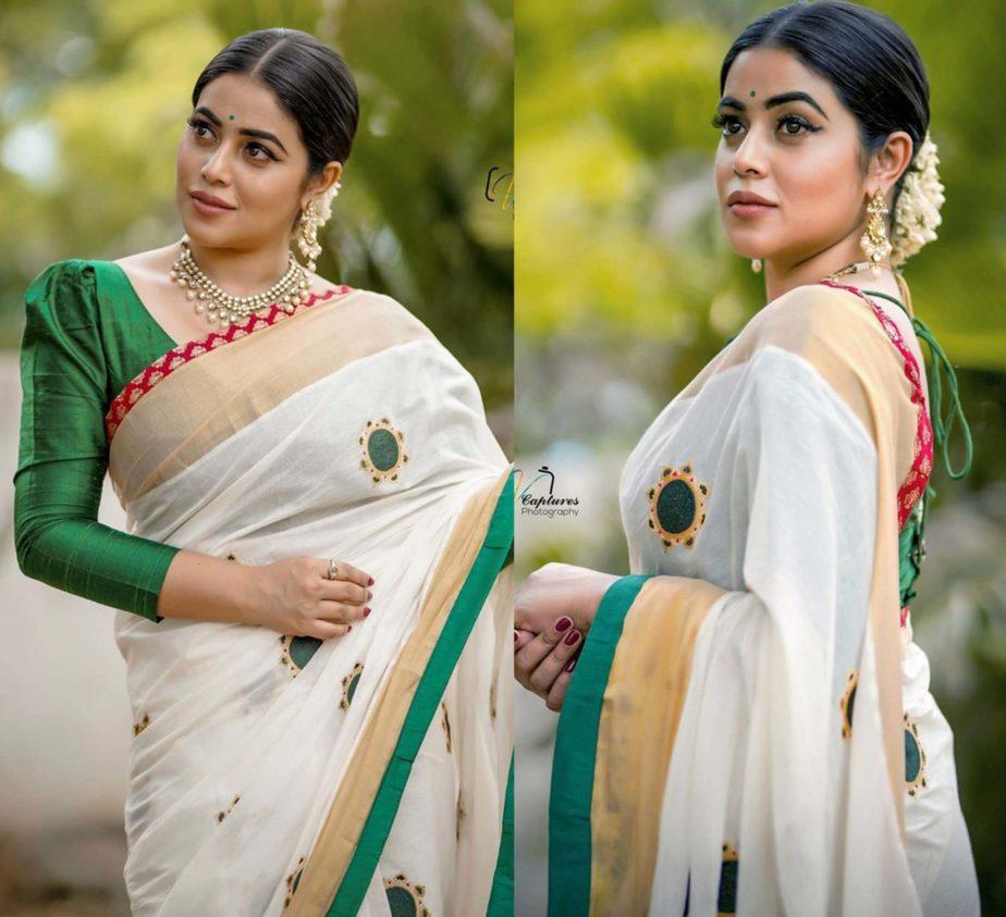 actress poorna in white kerala saree (1)
