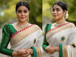 actress poorna in white kerala saree (2)