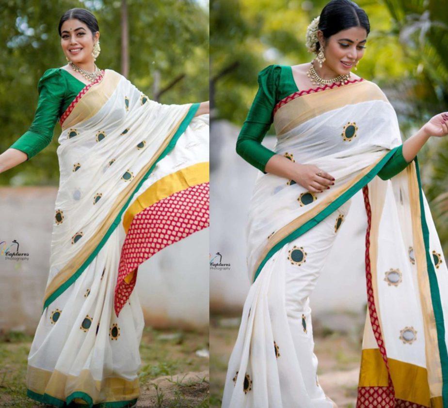 actress poorna in white kerala saree