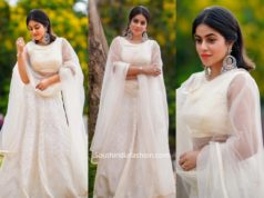actress poorna white lehenga