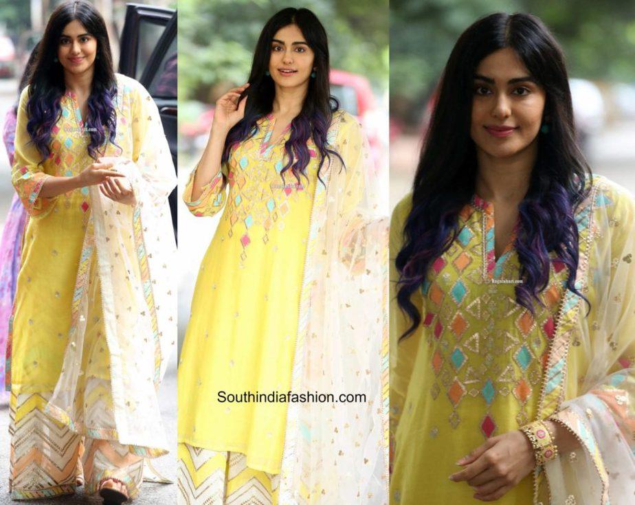 adah sharma yellow sharara suit (2)