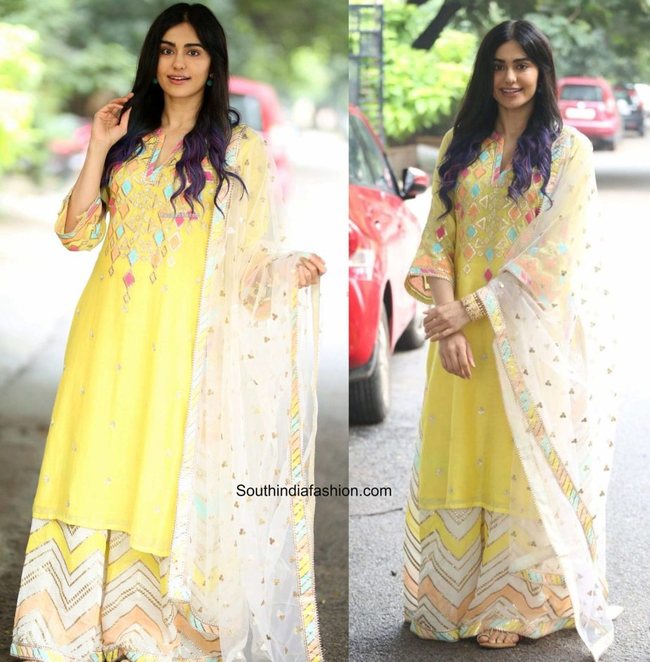 adah sharma yellow sharara suit