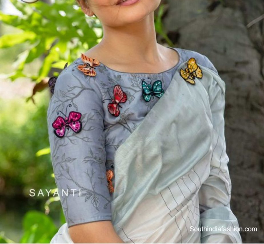butterfly saree blouse designs (1)