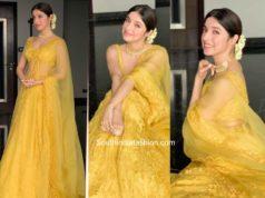 divya khosla kumar yellow lehenga