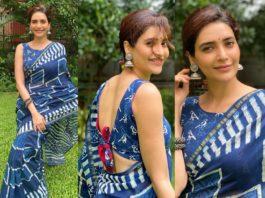 karishma tanna indigo blue saree (2)