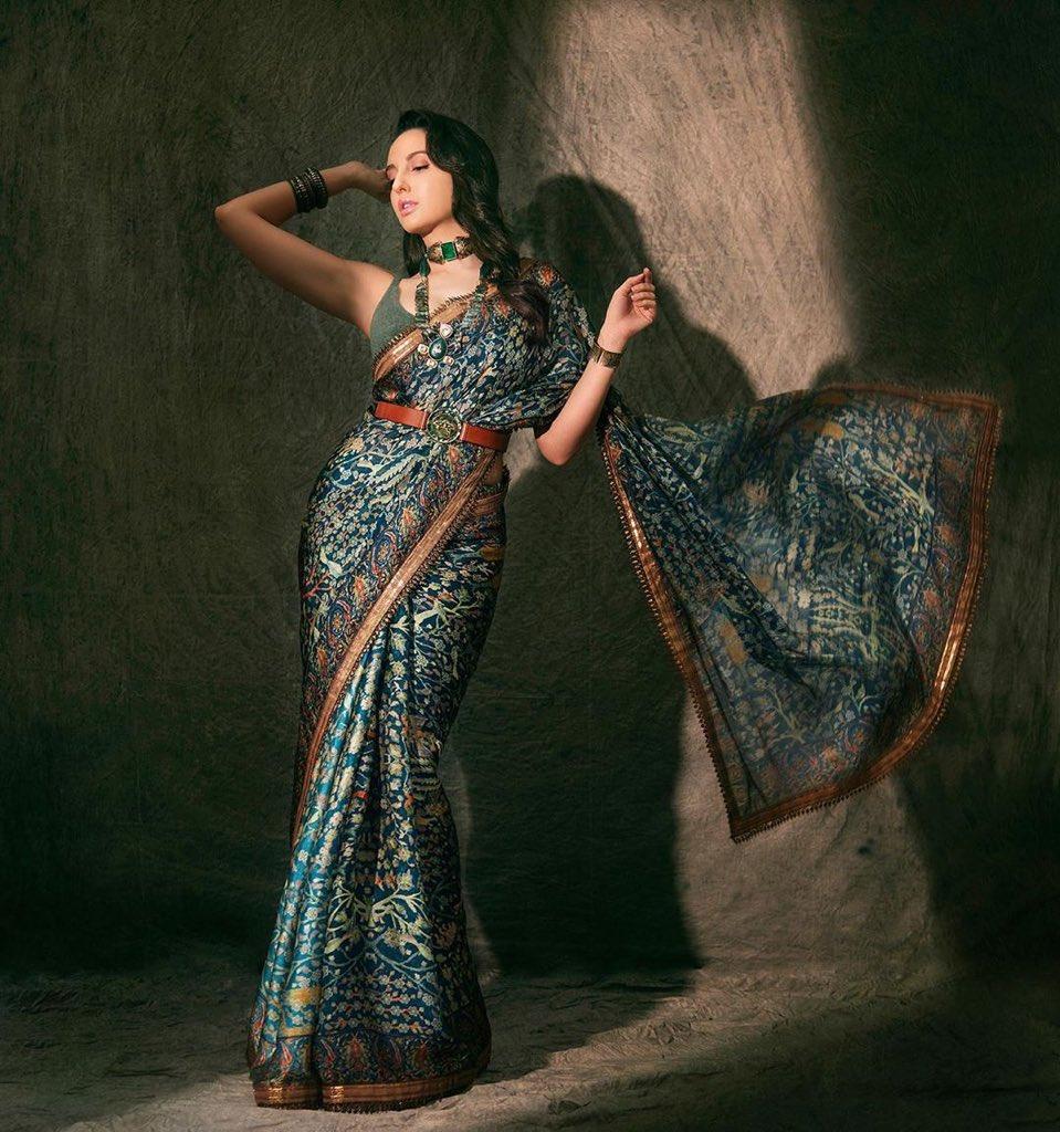 nora fatehi in jj valaya saree (1)