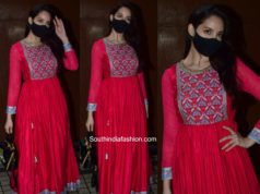nora fatehi red anarkali kurta