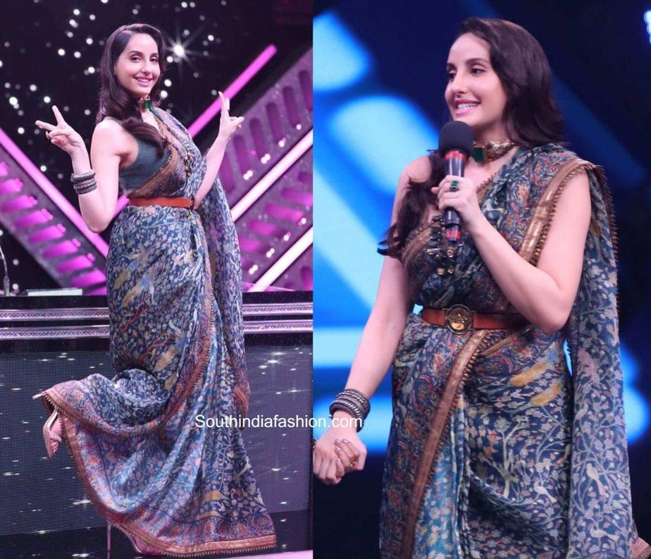 nora fatehi saree india's best dancer tv show (1)