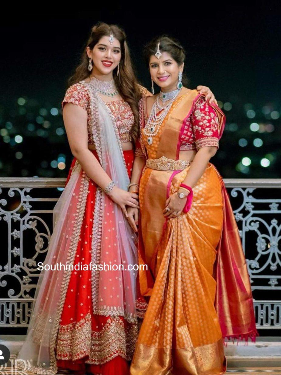 producer nikitha reddy and her daughter aadya at nithin wedding
