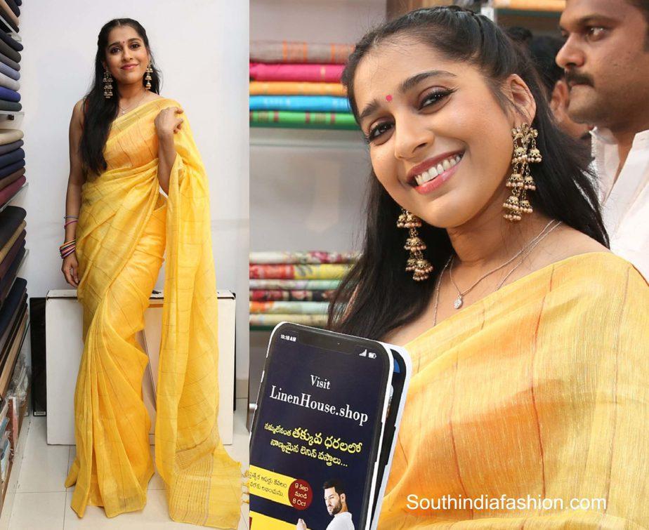 rashmi gautam yellow linen saree (1)