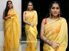 rashmi gautam yellow linen saree