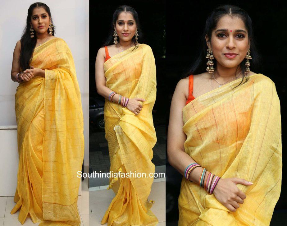 rashmi gautam yellow linen saree