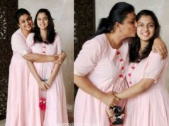 vroja and her daughter in pink floor length anarkalis