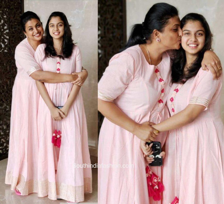 vroja and her daughter in pink floor length anarkalis